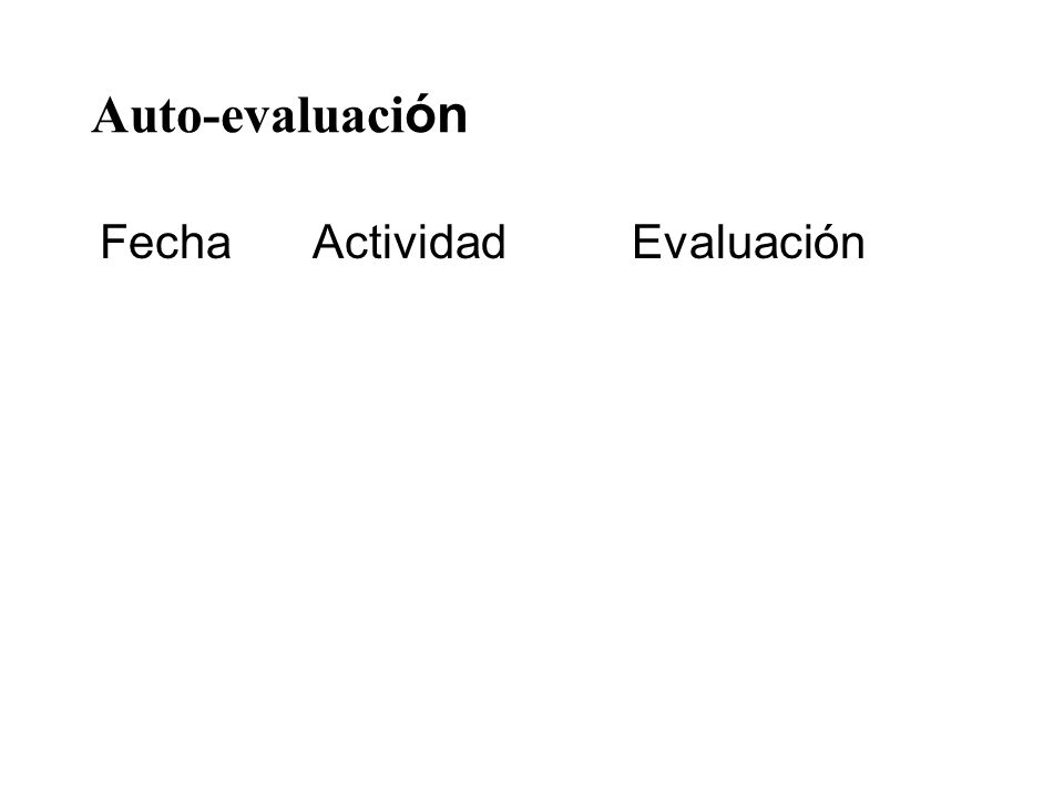 Auto-evaluación Fecha Actividad Evaluación