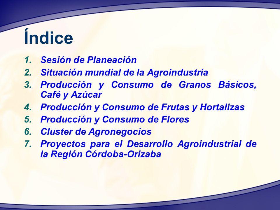 Índice Sesión de Planeación Situación mundial de la Agroindustria