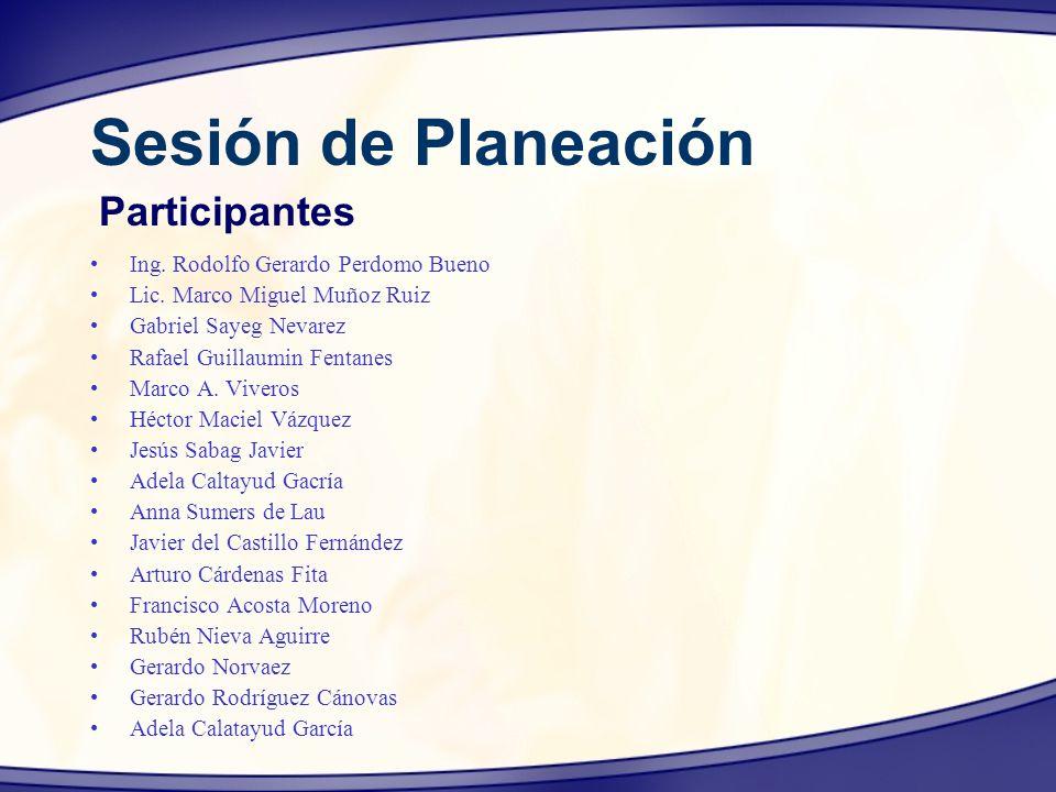 Sesión de Planeación Participantes Ing. Rodolfo Gerardo Perdomo Bueno