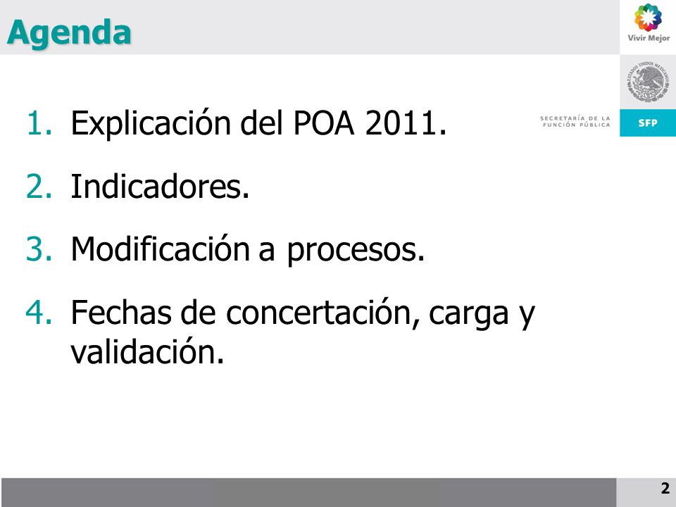 Agenda Explicación del POA 2011. Indicadores. Modificación a procesos.