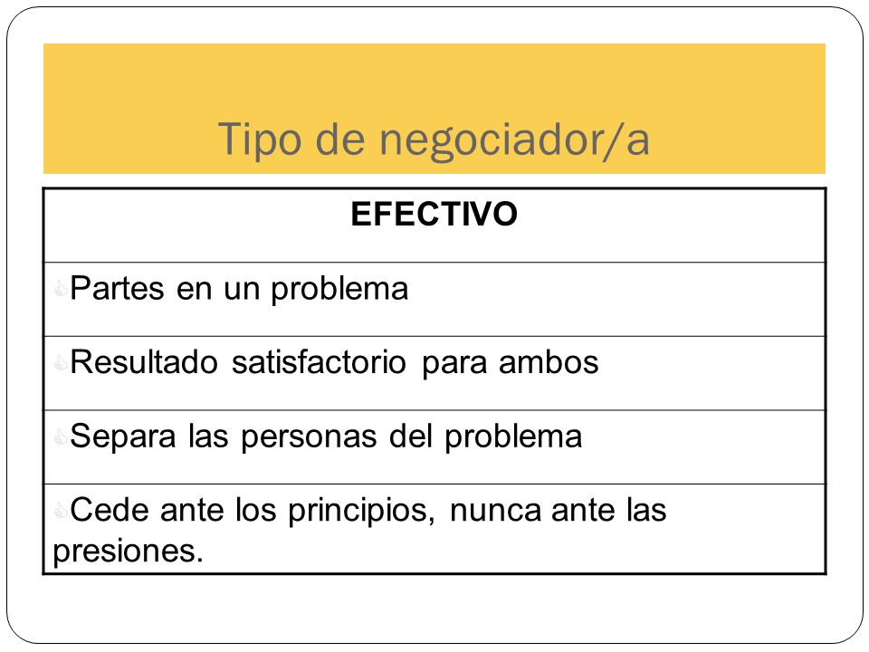 Tipo de negociador/a EFECTIVO Partes en un problema