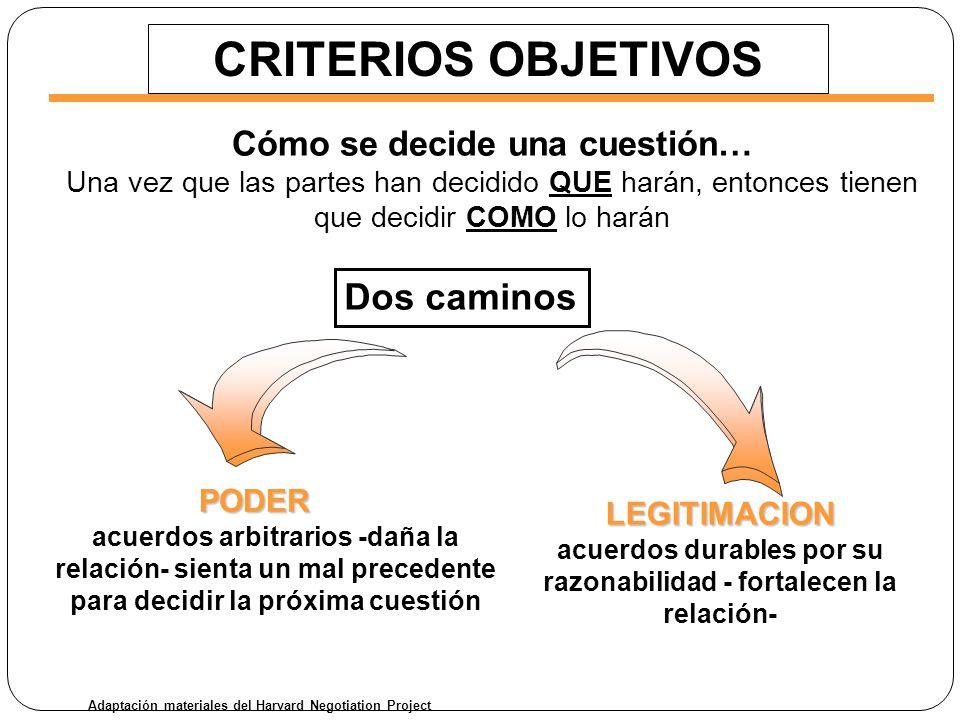 CRITERIOS OBJETIVOS Dos caminos