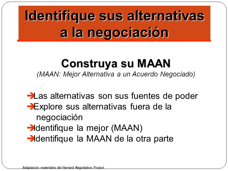 Identifique sus alternativas