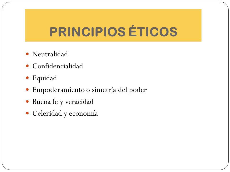 PRINCIPIOS ÉTICOS Neutralidad Confidencialidad Equidad