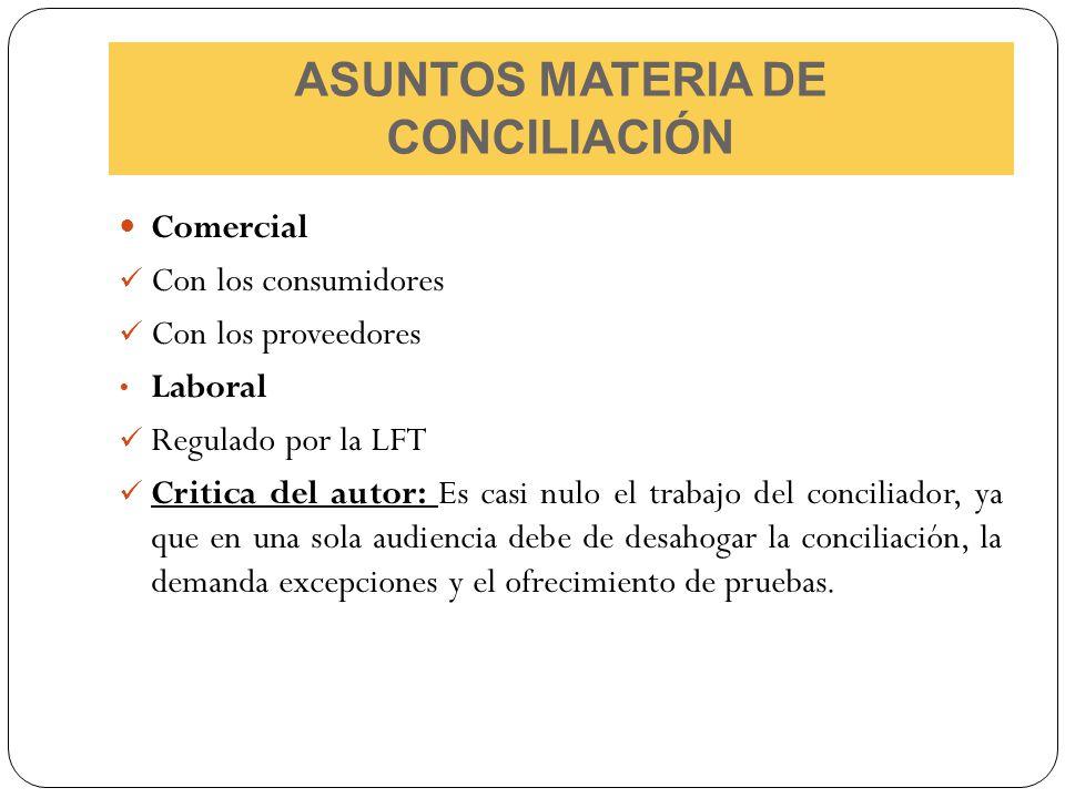 ASUNTOS MATERIA DE CONCILIACIÓN