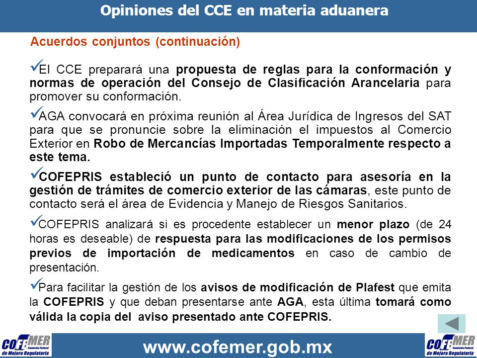 Opiniones del CCE en materia aduanera