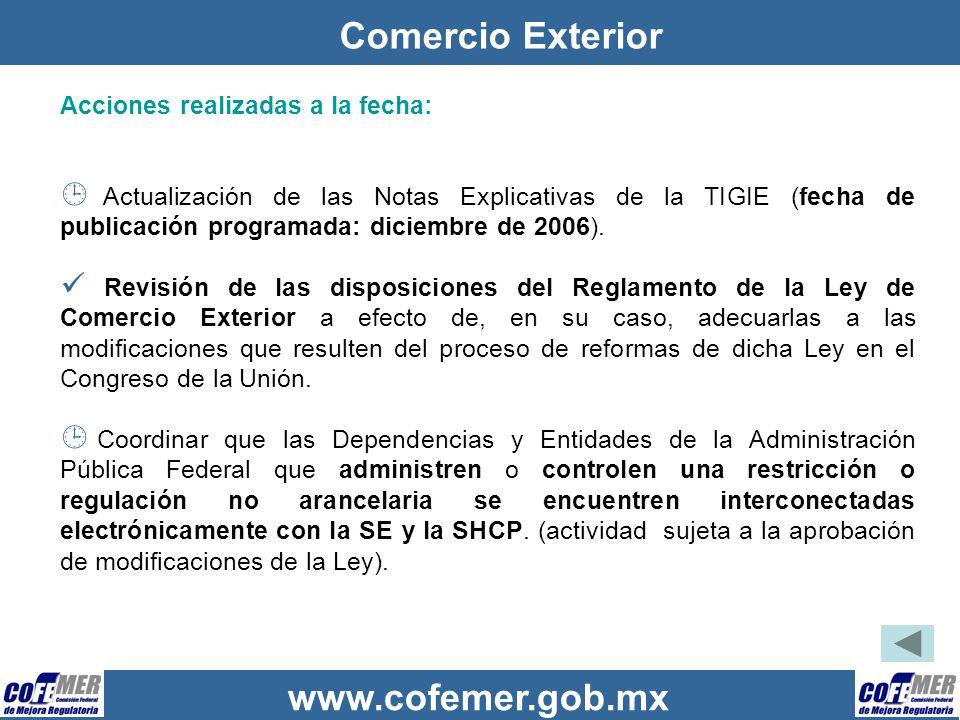 Comercio Exterior Acciones realizadas a la fecha: