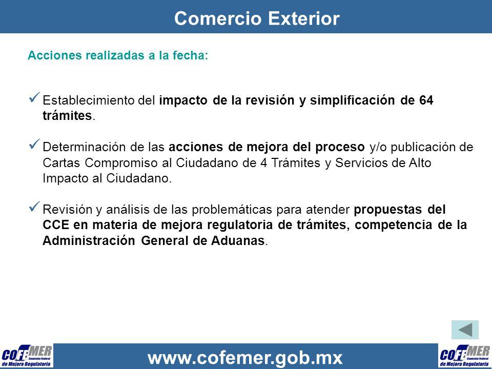 Comercio Exterior Acciones realizadas a la fecha: Establecimiento del impacto de la revisión y simplificación de 64 trámites.