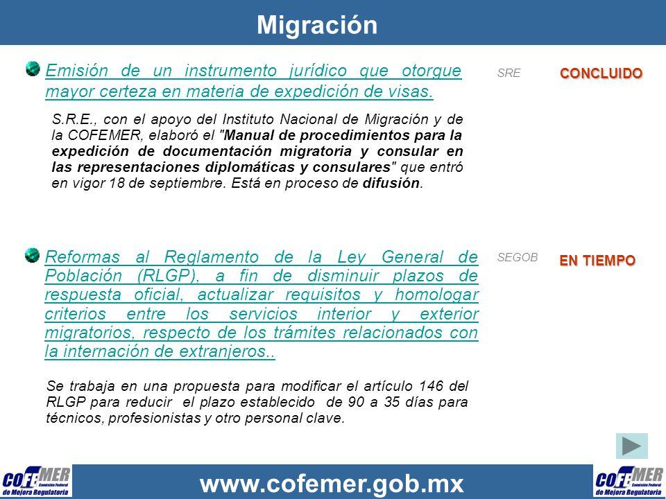 Migración Emisión de un instrumento jurídico que otorgue mayor certeza en materia de expedición de visas.