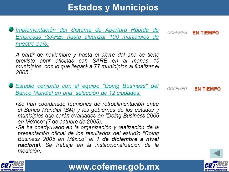Estados y Municipios Implementación del Sistema de Apertura Rápida de Empresas (SARE) hasta alcanzar 100 municipios de nuestro país.