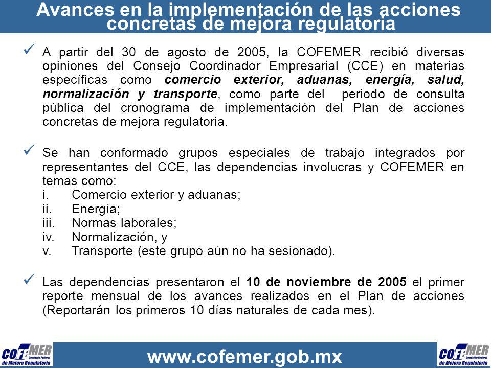 Avances en la implementación de las acciones concretas de mejora regulatoria