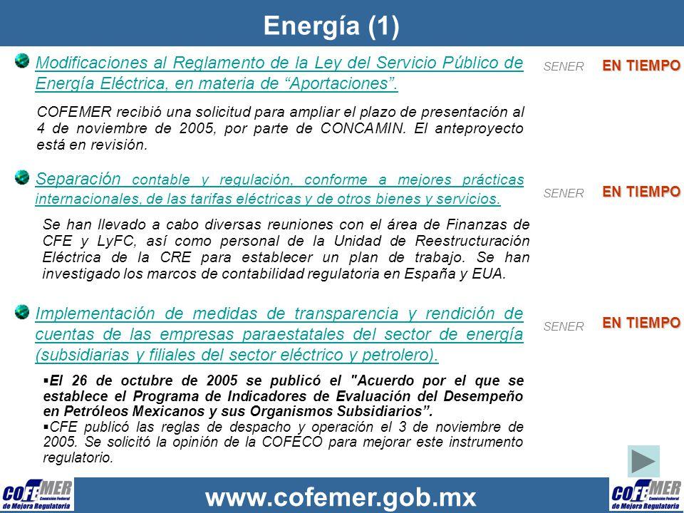 Energía (1) Modificaciones al Reglamento de la Ley del Servicio Público de Energía Eléctrica, en materia de Aportaciones .