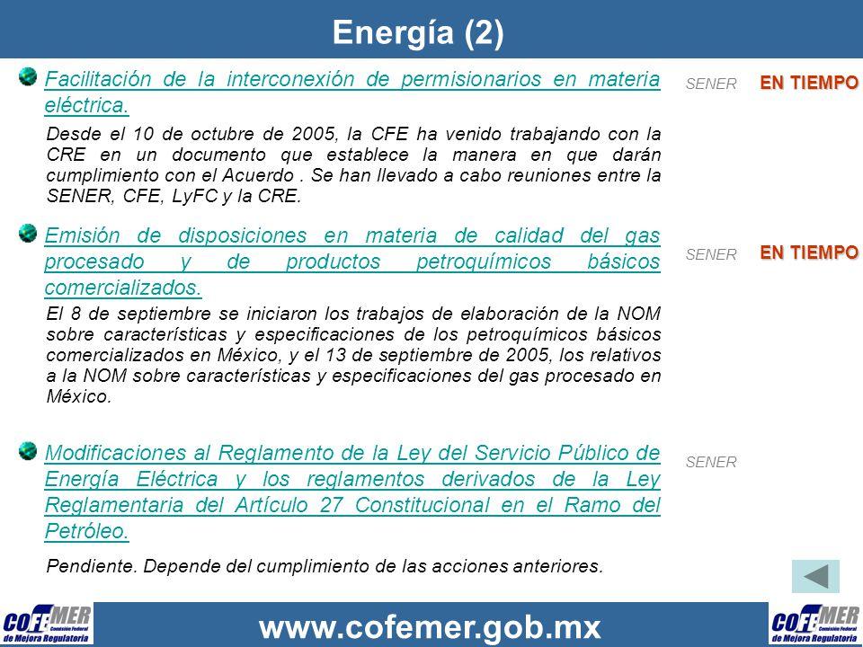 Energía (2) Facilitación de la interconexión de permisionarios en materia eléctrica. SENER. EN TIEMPO.
