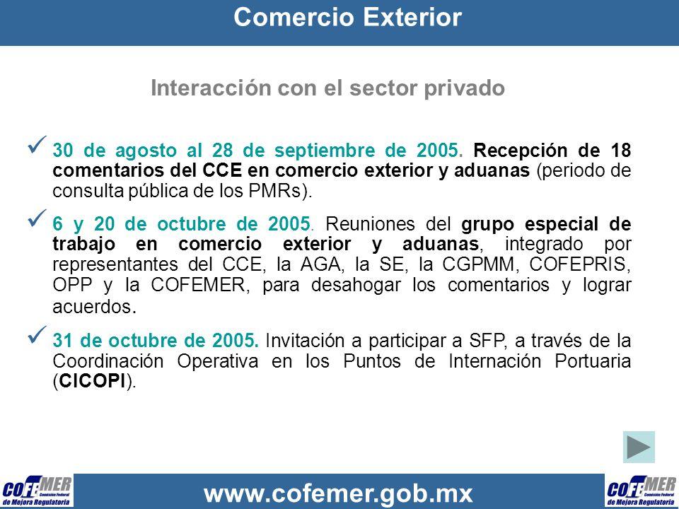 Interacción con el sector privado