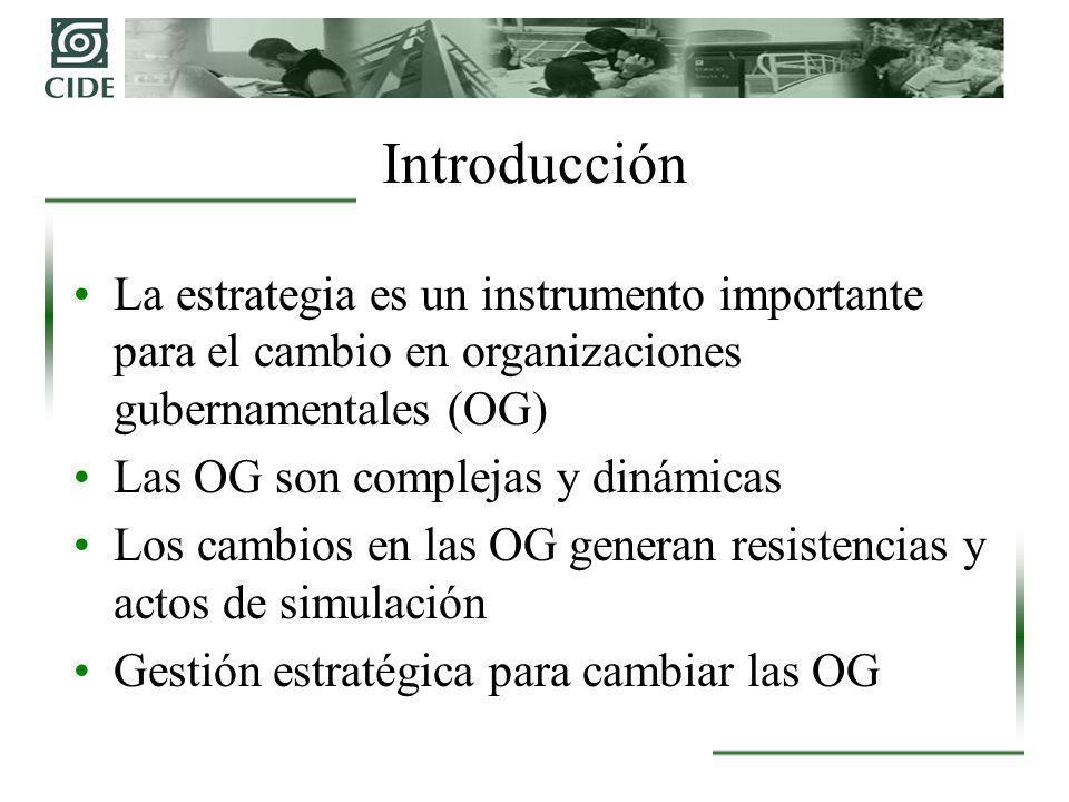 Introducción La estrategia es un instrumento importante para el cambio en organizaciones gubernamentales (OG)
