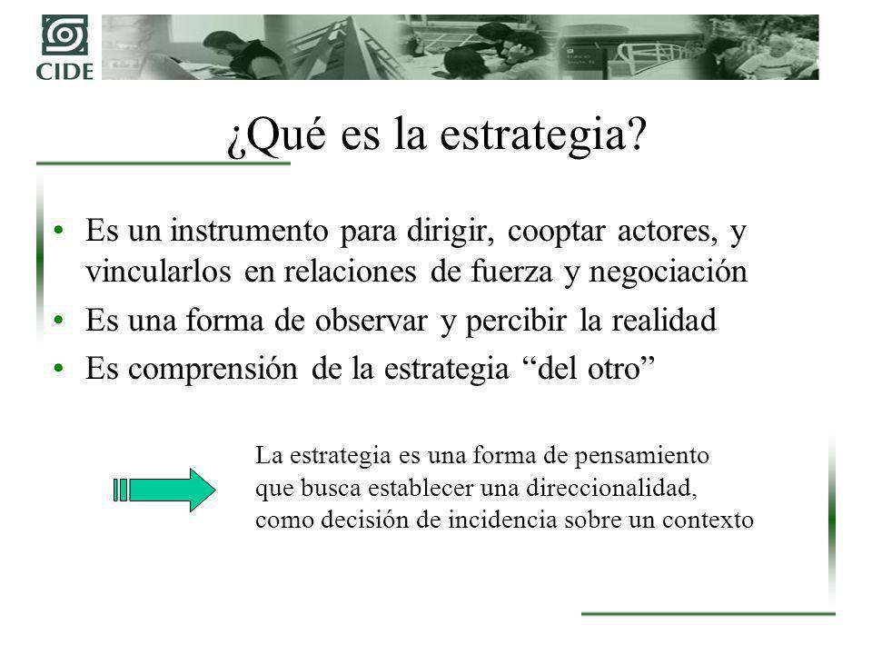 ¿Qué es la estrategia Es un instrumento para dirigir, cooptar actores, y vincularlos en relaciones de fuerza y negociación.