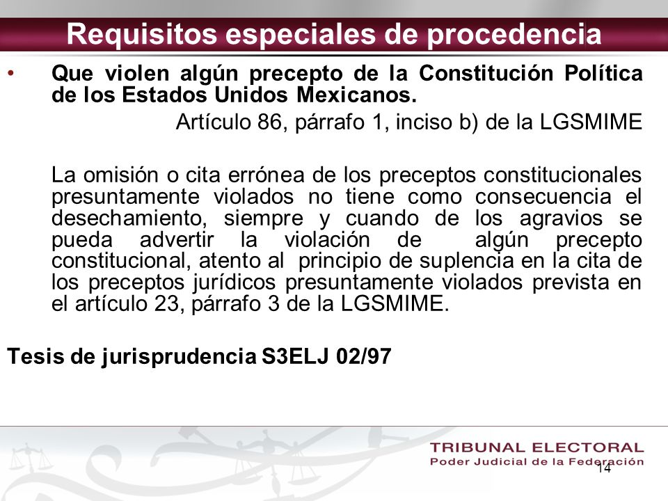 Requisitos especiales de procedencia