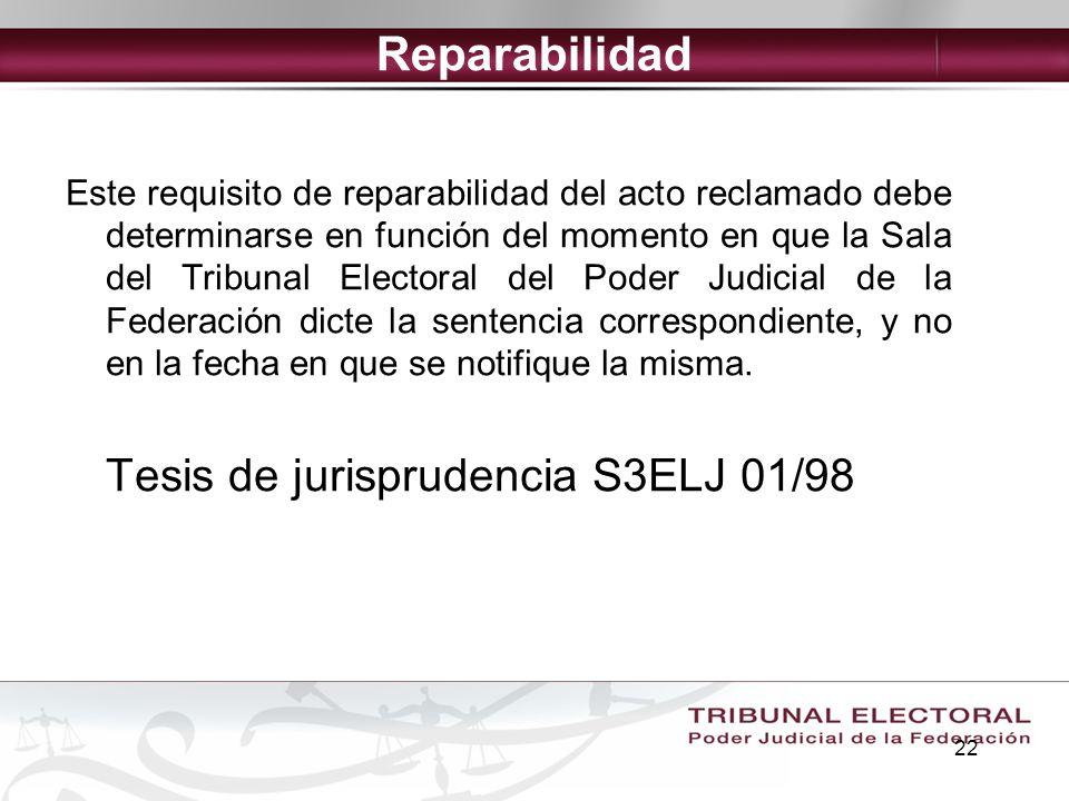 Reparabilidad Tesis de jurisprudencia S3ELJ 01/98