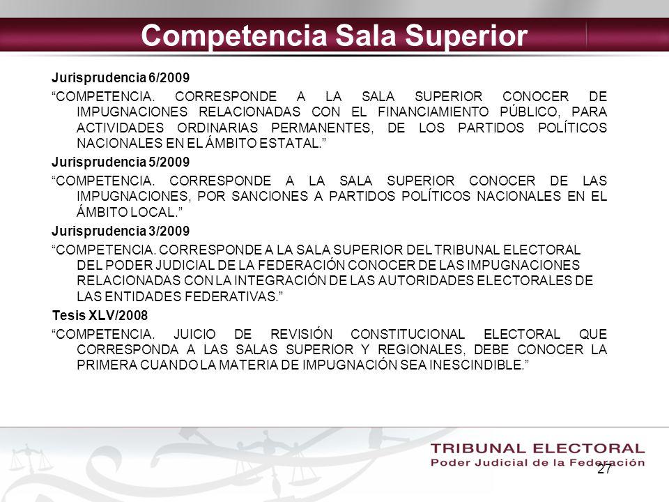 Competencia Sala Superior