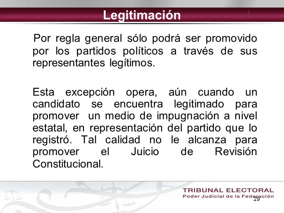 Legitimación Por regla general sólo podrá ser promovido por los partidos políticos a través de sus representantes legítimos.