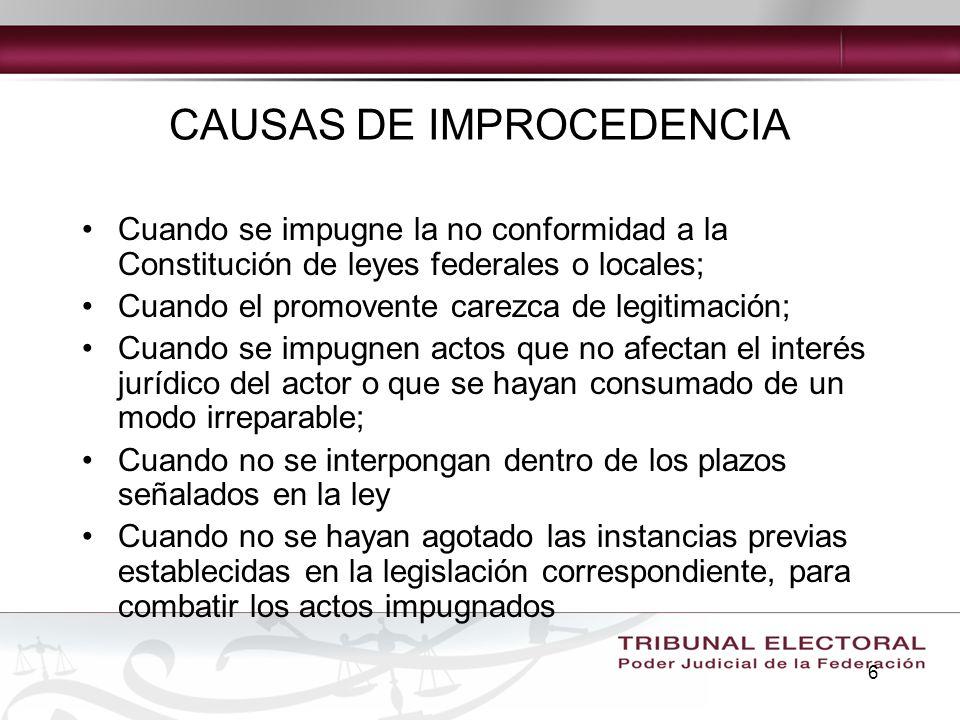 CAUSAS DE IMPROCEDENCIA