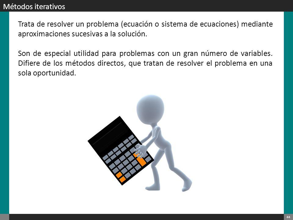Métodos iterativos Trata de resolver un problema (ecuación o sistema de ecuaciones) mediante aproximaciones sucesivas a la solución.