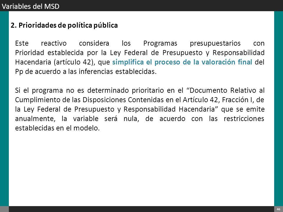 Variables del MSD 2. Prioridades de política pública.