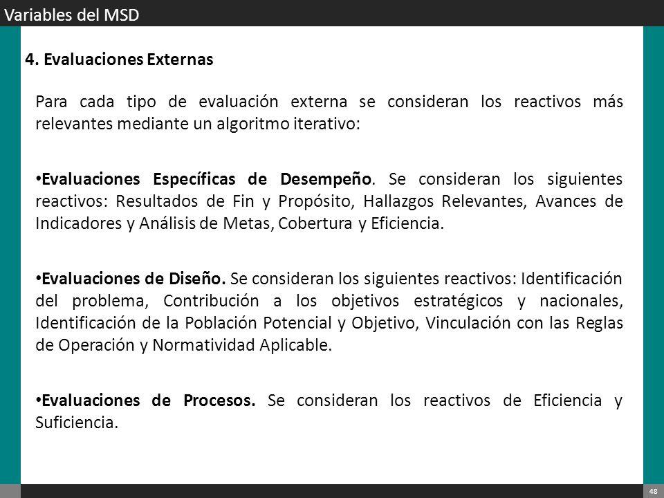 Variables del MSD 4. Evaluaciones Externas.