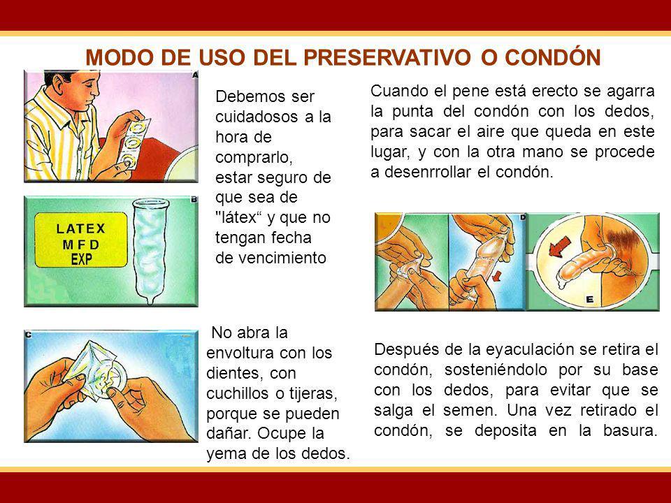 MODO DE USO DEL PRESERVATIVO O CONDÓN