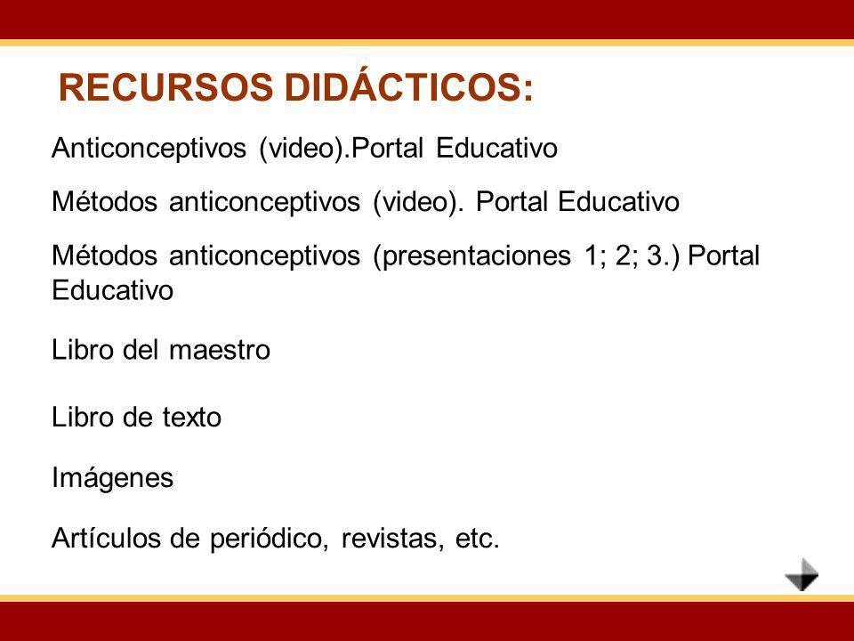 RECURSOS DIDÁCTICOS: Anticonceptivos (video).Portal Educativo