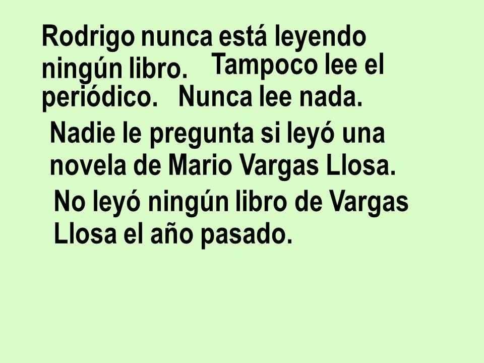Rodrigo nunca está leyendo ningún libro.