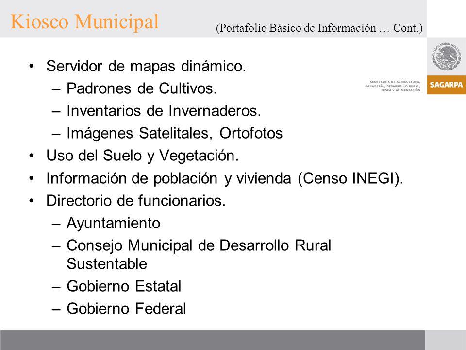 Kiosco Municipal Servidor de mapas dinámico. Padrones de Cultivos.