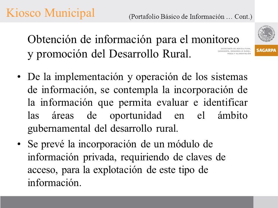 Kiosco Municipal (Portafolio Básico de Información … Cont.) Obtención de información para el monitoreo y promoción del Desarrollo Rural.