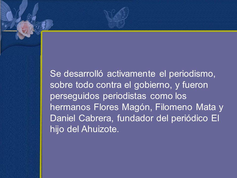 Se desarrolló activamente el periodismo, sobre todo contra el gobierno, y fueron perseguidos periodistas como los hermanos Flores Magón, Filomeno Mata y Daniel Cabrera, fundador del periódico El hijo del Ahuizote.