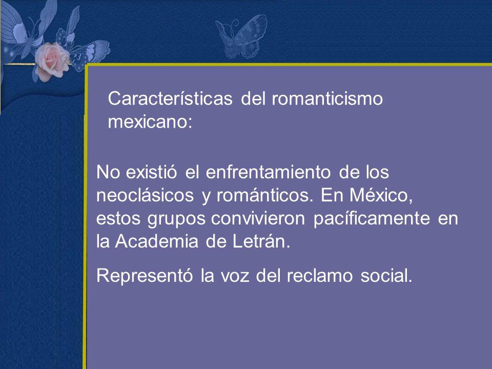 Características del romanticismo mexicano: