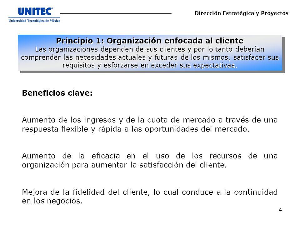 Principio 1: Organización enfocada al cliente