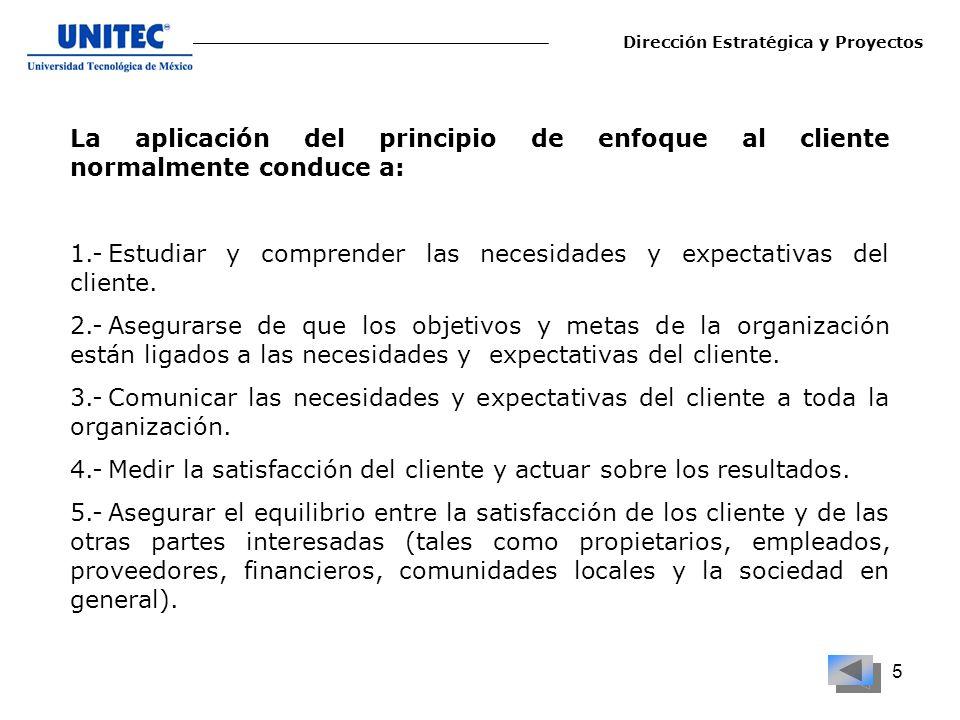 1.- Estudiar y comprender las necesidades y expectativas del cliente.