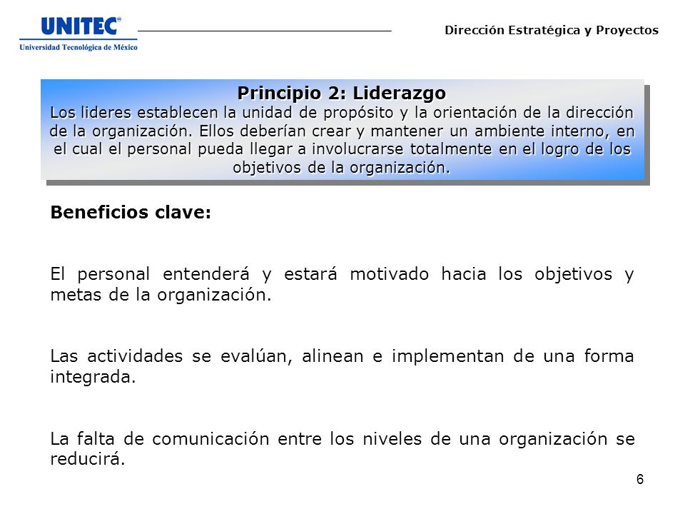 Principio 2: Liderazgo Beneficios clave: