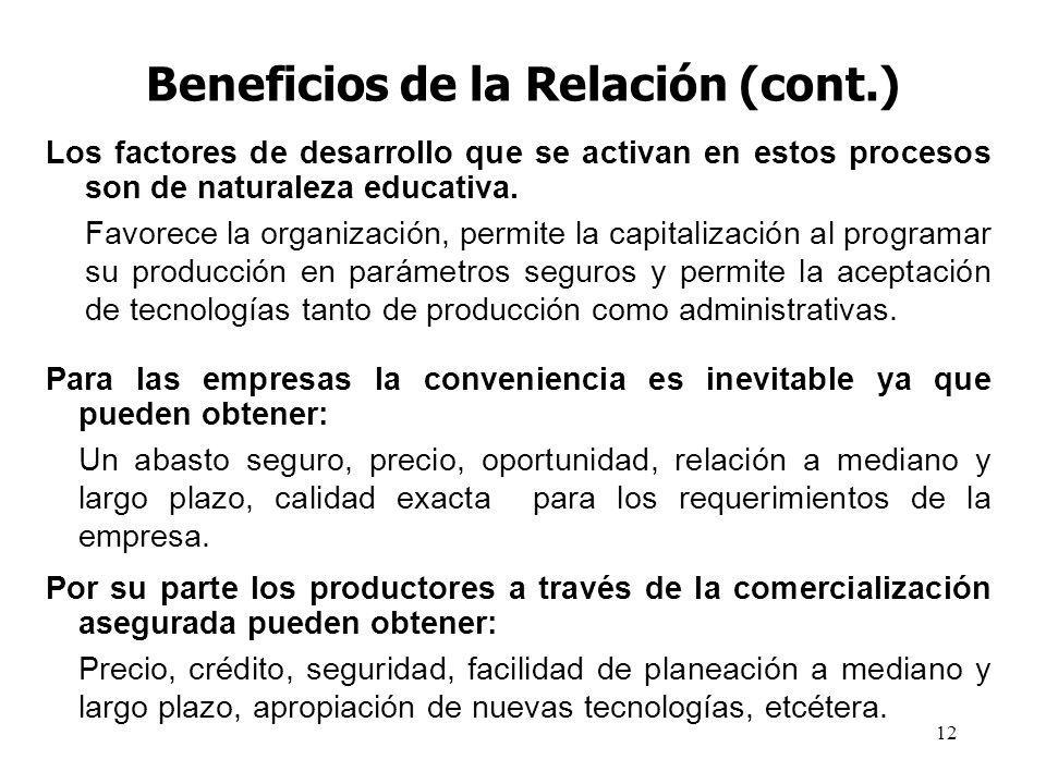 Beneficios de la Relación (cont.)