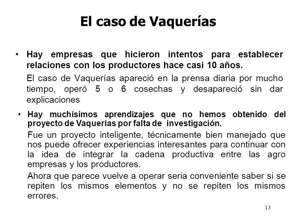 El caso de Vaquerías Hay empresas que hicieron intentos para establecer relaciones con los productores hace casi 10 años.