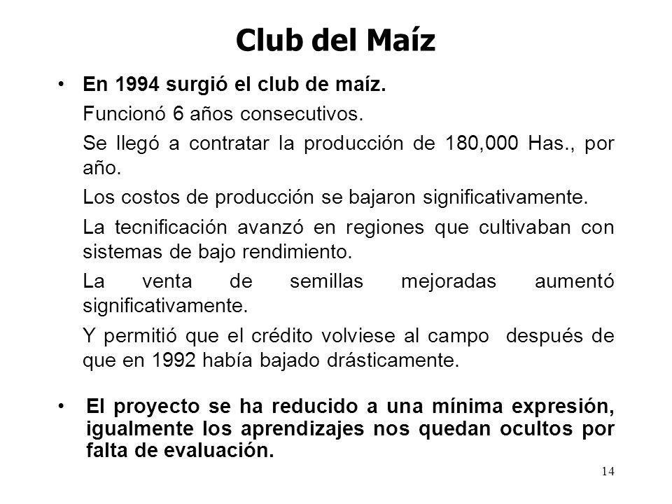 Club del Maíz En 1994 surgió el club de maíz.