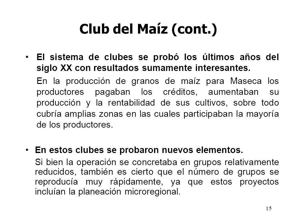 Club del Maíz (cont.) El sistema de clubes se probó los últimos años del siglo XX con resultados sumamente interesantes.