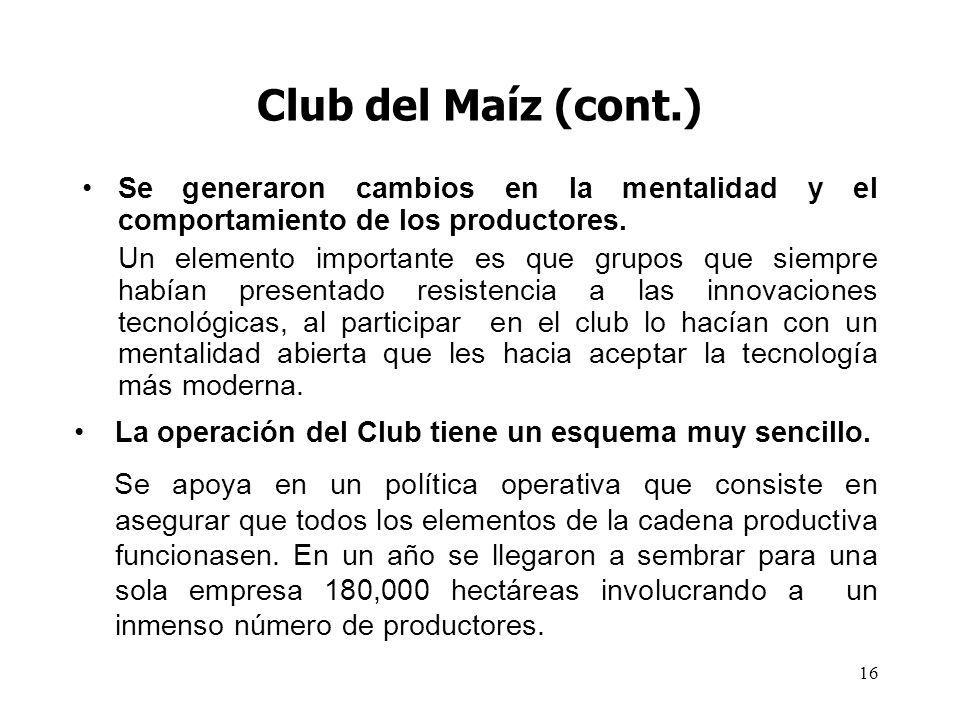 Club del Maíz (cont.) Se generaron cambios en la mentalidad y el comportamiento de los productores.