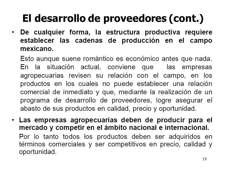 El desarrollo de proveedores (cont.)