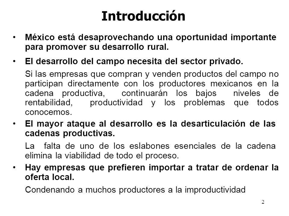 Introducción México está desaprovechando una oportunidad importante para promover su desarrollo rural.