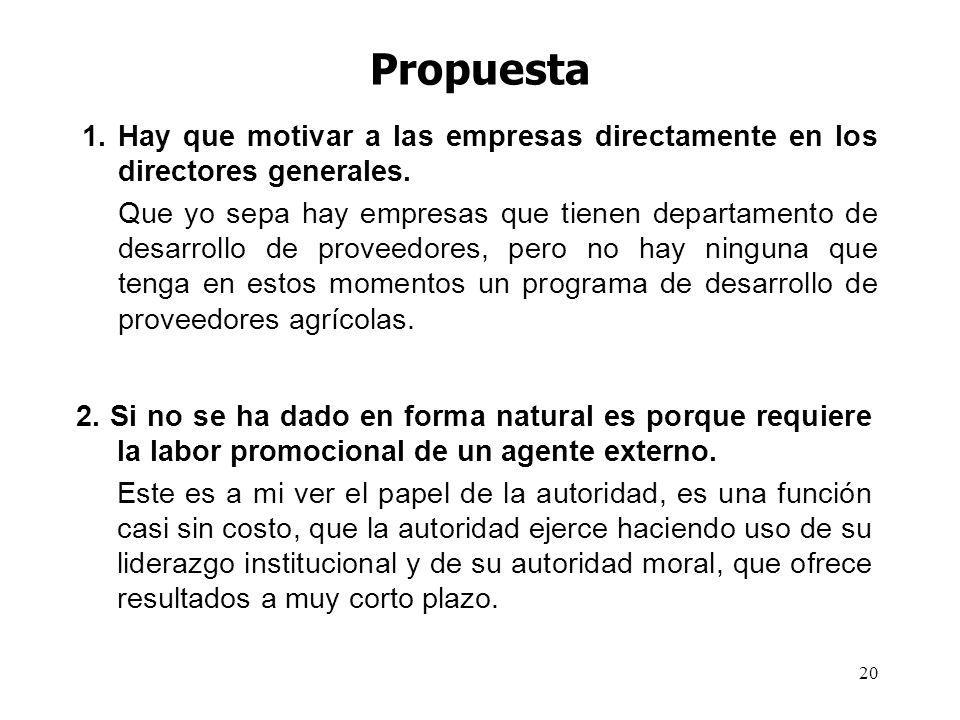 Propuesta 1. Hay que motivar a las empresas directamente en los directores generales.