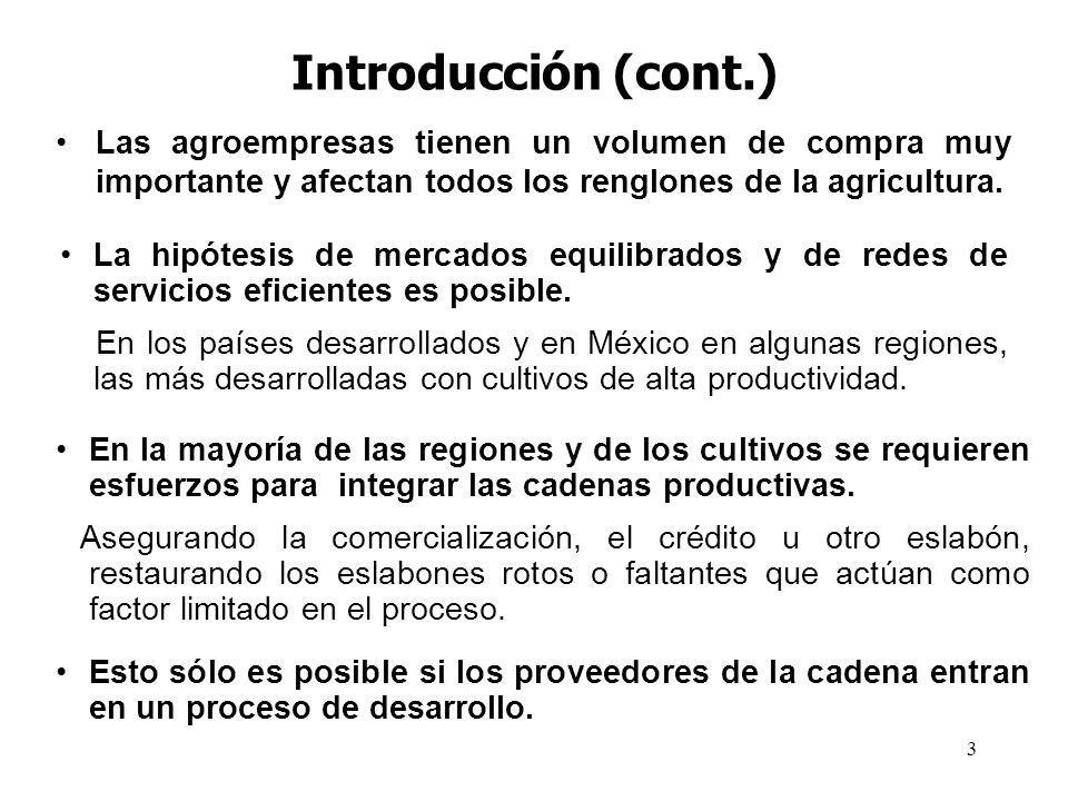 Introducción (cont.) Las agroempresas tienen un volumen de compra muy importante y afectan todos los renglones de la agricultura.