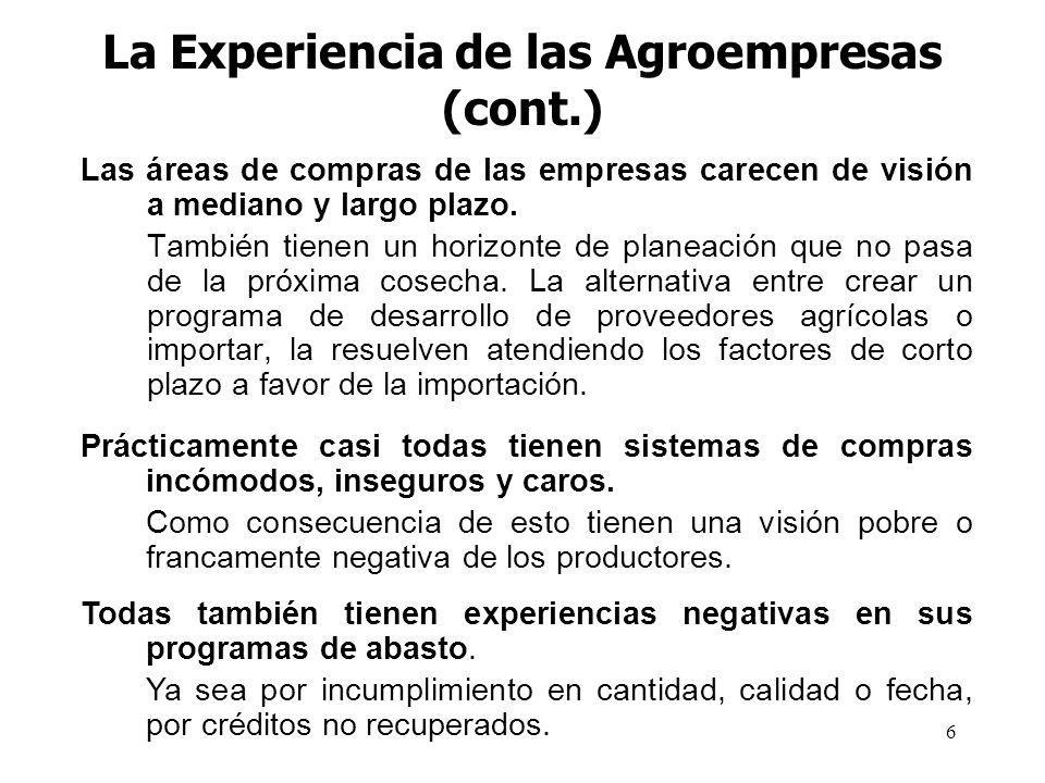 La Experiencia de las Agroempresas (cont.)