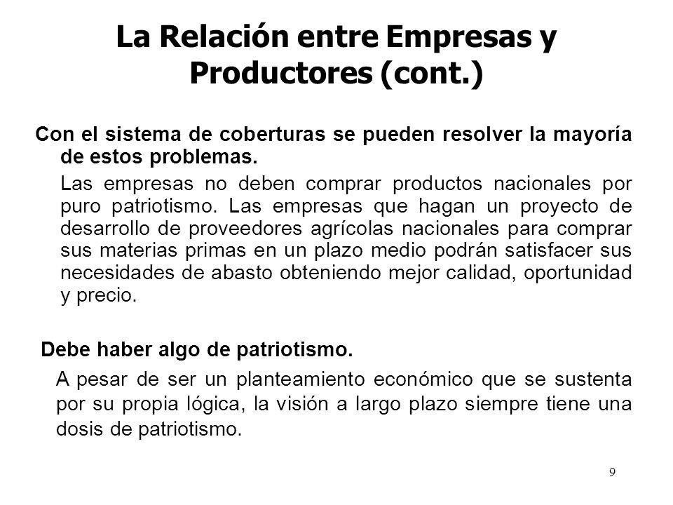 La Relación entre Empresas y Productores (cont.)