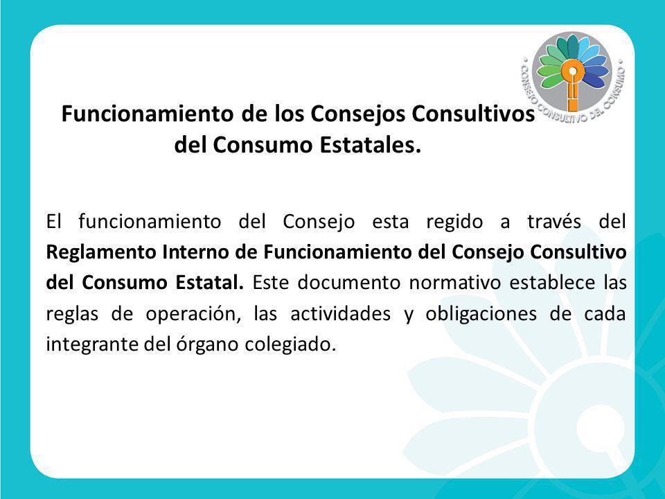 Funcionamiento de los Consejos Consultivos del Consumo Estatales.